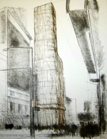 Lithograph Christo - Allied chemical tower packed time square