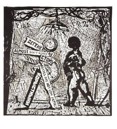 Linocut Kentridge - Almost Don't Worry