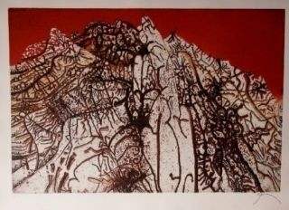 Etching And Aquatint Prassinos - Alpine rouge