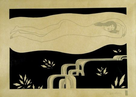 Woodcut Czeschka - Am Bache (At the brook)