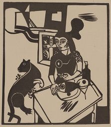 Woodcut Campendonk - Am Tisch sitzende Frau mit Katze und Fisch / Woman Sitting at Table with Cat and FIsh