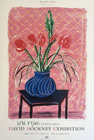 Lithograph Hockney - 'Amaryllis in Vase' Hand Signed Exhibition Poster 1985