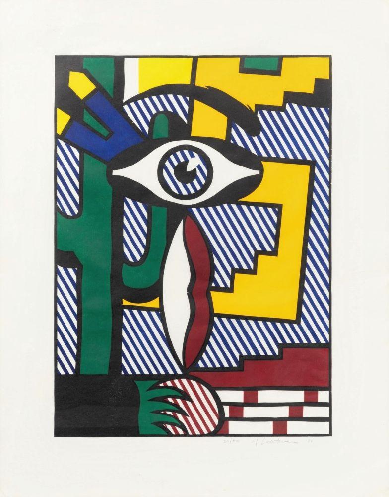 Woodcut Lichtenstein - American Indian Theme III
