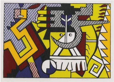 Woodcut Lichtenstein - American Indian Theme VI