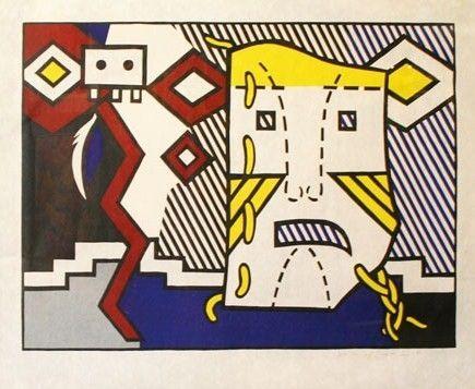 Woodcut Lichtenstein - American indiana theme V