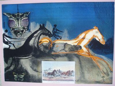 Lithograph Dali - American Trotting Horses No. 2