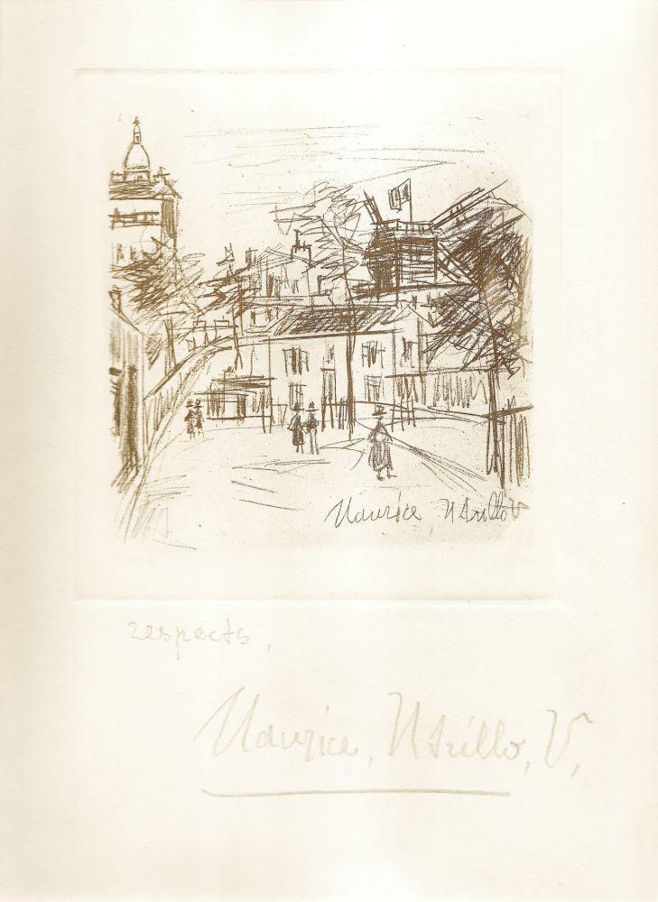 Etching Utrillo -  Amitiés de Montmartre