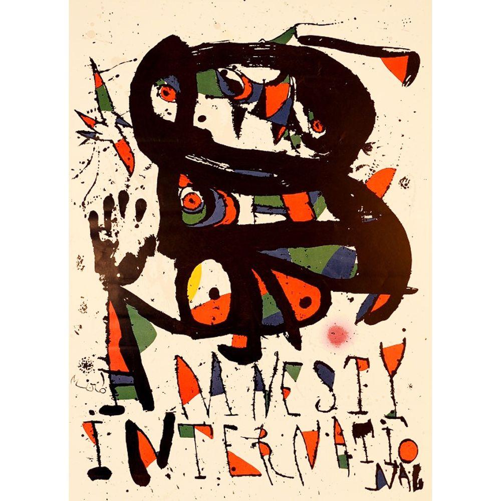 Lithograph Miró - AMNESTY INTERNATIONAL 1975. Lithographie. Tirage de luxe sur Arches.