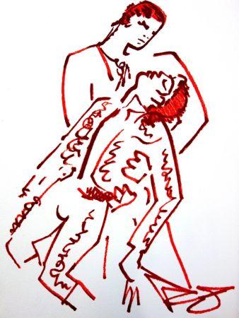 Lithograph Cocteau - Amoureux