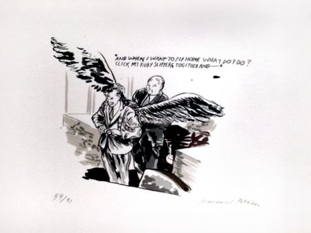 Screenprint Pettibon - And When I Want to Fly Home What Do I Do