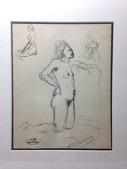 No Technical Derain - André Derain (1880-1954). Etude de nu. Encre sur papier signée.