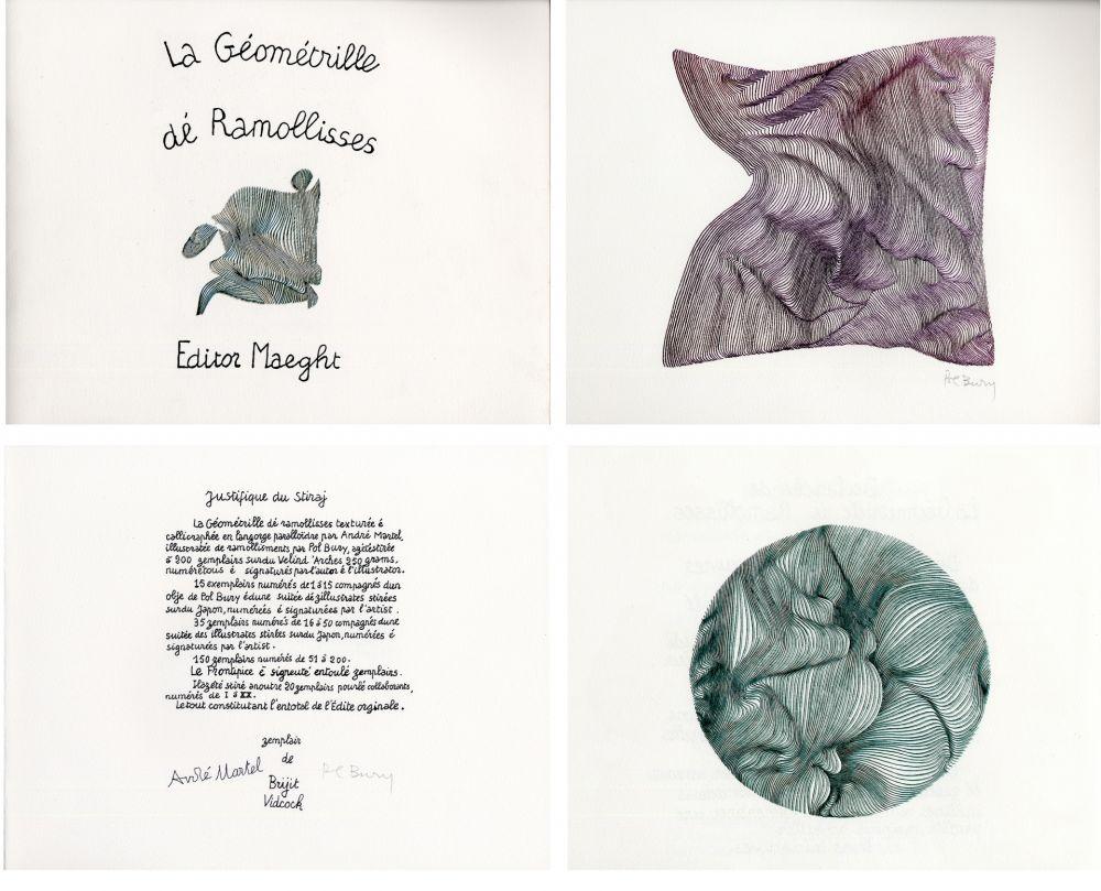 Illustrated Book Bury - André MARTEL : LA GÉOMÉTRILLE DÉ RAMOLLISSES. Textures paralloïdes d'André Martel vec dé mollimages de Pol Bury (1975)