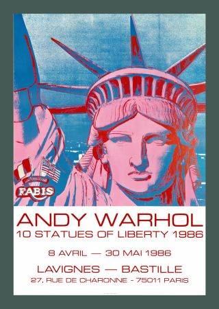 Lithograph Warhol - Andy Warhol '10 Statues Of Liberty' 1986 Original Pop Art Poste