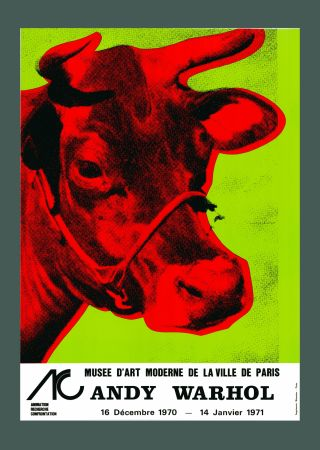 Lithograph Warhol - Andy Warhol 'Cow Wallpaper (Green)' 1970 Hand Signed Original Pop Art Poster with COA
