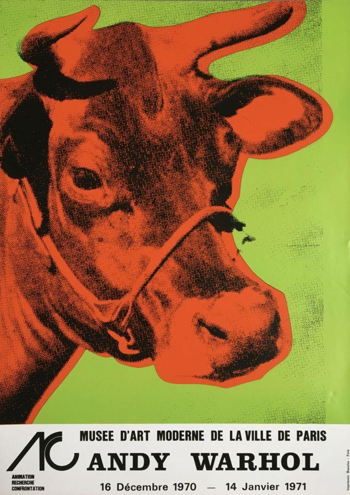 No Technical Warhol - Andy Warhol 'Cow Wallpaper (Green)' 1970 Original Pop Art Poster with COA