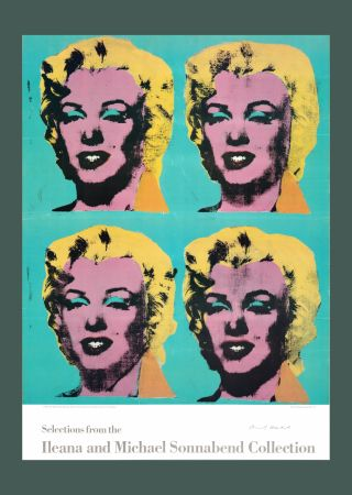 Lithograph Warhol - Andy Warhol 'Four Marilyns' 1985 Hand Signed Original Pop Art Poster with COA