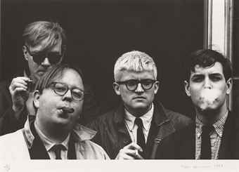 Photography Hopper - Andy Warhol, Henry Geldzahler, David Hockney and Jeff Goodman