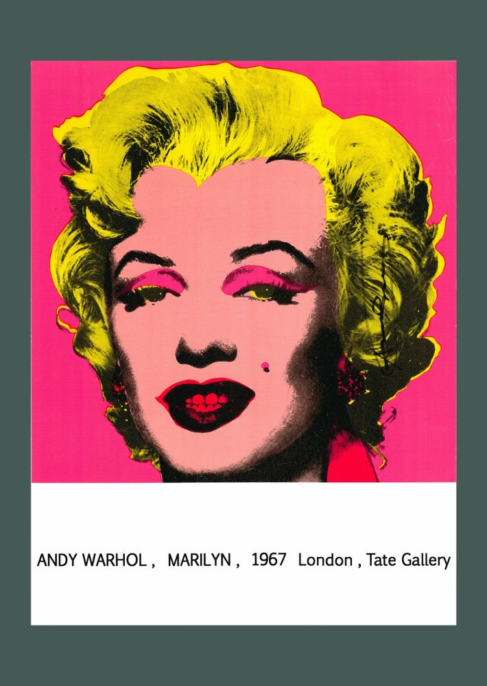 Lithograph Warhol - Andy Warhol 'Marilyn (Tate Gallery)' 1987 Hand Signed Original Pop Art Poster with COA