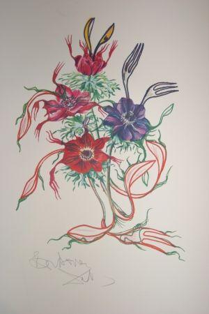 Lithograph Dali - Anemone (surrealistic flowers)