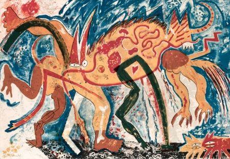 Lithograph Barcelo - Animal amb tres pixerades