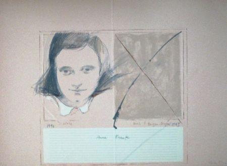 Linocut Bru - Anne Frank