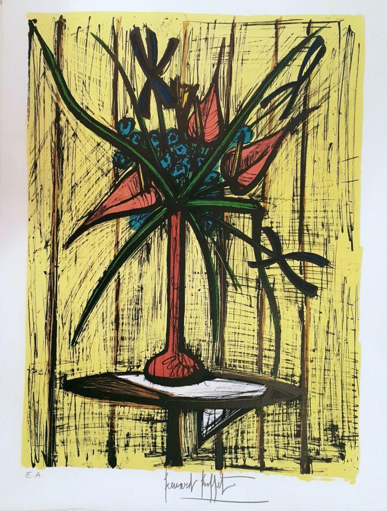 Lithograph de Bernard Buffet, Anthuriums et Iris on Amorosart