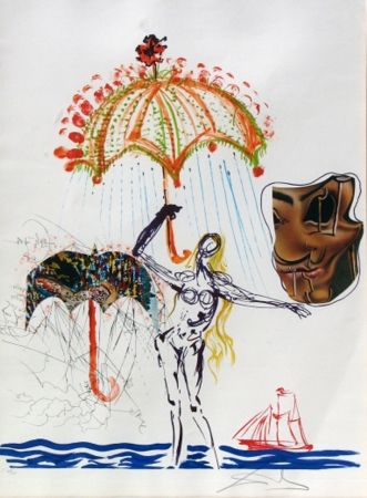 Lithograph Dali - Anti-Umbrella with Atomized Liquid, from Imaginations and Objects of the Future