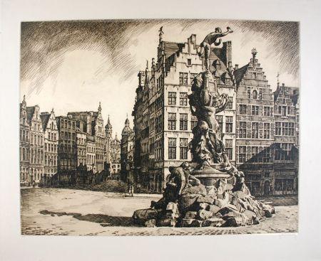 Engraving Hebbelinck - Antwerpen - Grote Markt