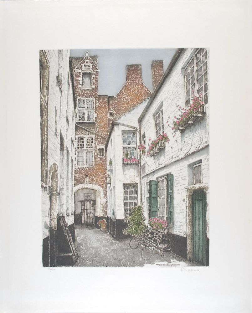 Engraving Hebbelinck - Antwerpen : Vlaeyckensgang - Den Grooten Baers