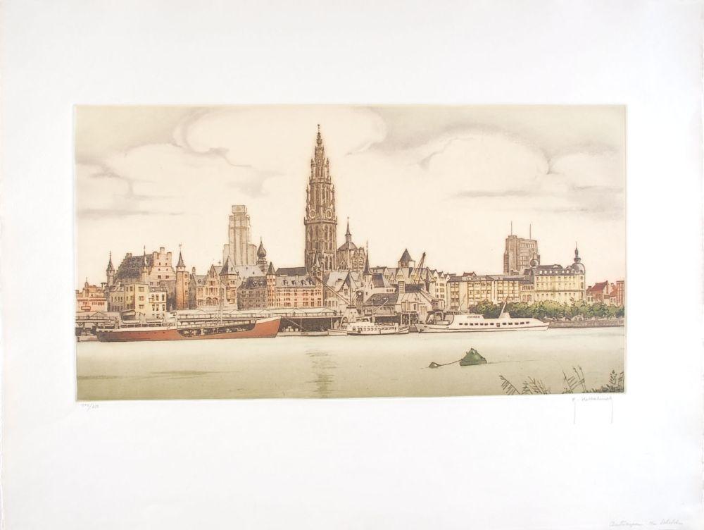 Engraving Hebbelinck - Anvers : De Schelde