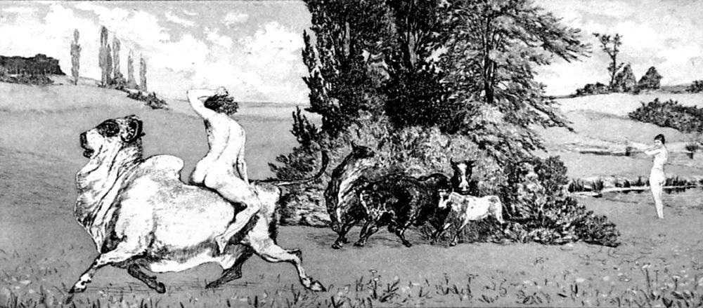 Etching And Aquatint Klinger - Apollo e Dafne III