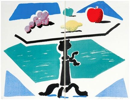 No Technical Hockney - Apples, Grapes, Lemon on a Table