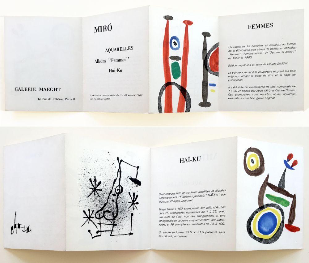 Lithograph Miró - AQUARELLES - FEMMES - HAÏ-KU. Carton d'invitation. 1967.