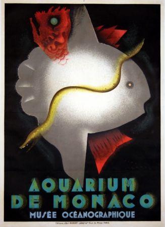 Lithograph Carlu - Aquarium de Monaco