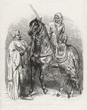 Etching Chassériau - Arabe montant en selle / Cavalier arabe partant pour la guerre