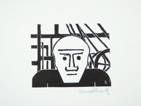 Linocut Schmitz - Arbeiter (Worker)