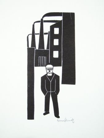 Linocut Schmitz - Arbeiterfreizeit (Worker's Leisure Time)