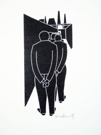 Linocut Schmitz - Arbeitergang (Going to Work)