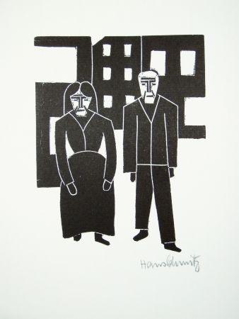 Linocut Schmitz - Arbeiterpaar (Working Couple)