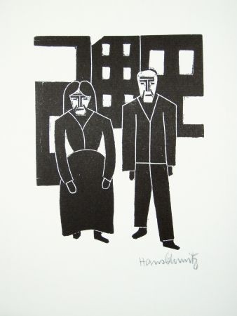 Linocut Schmitz - Arbeiterpaar (Working Couple)