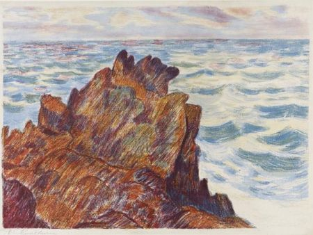 Lithograph Guillaumin - Armand Guillaumin (1841-1927).Les Rochers rouges. 1896. Lithographie signée.