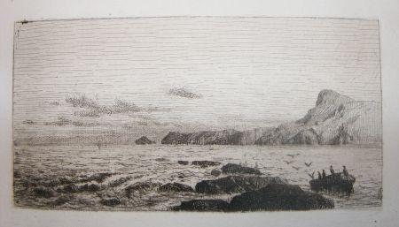 Etching And Aquatint De Haes - Arrecifes (Marina: Roca, gaviotas)