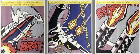 Lithograph Lichtenstein - As I Opened Fire (Hand Signed) Triptych 3-Piece Set