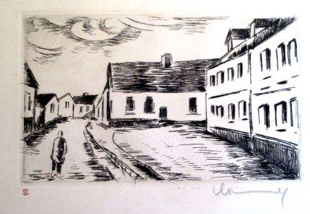 Etching Vlaminck - Aspect de la Grand rue, Visage des Maisons II