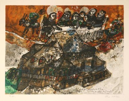 Lithograph Tobiasse - Assemblee des Rabbins et Notables au lgime dans un village de Lithuanie