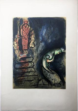Lithograph Chagall - ASSUÉRUS CHASSE VASTHI (Dessins pour la Bible. 1960)