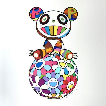 Screenprint Murakami - Atop a Ball of Flowers, A Panda Cub Sits Properly