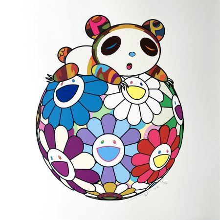 Screenprint Murakami - Atop a Ball of Flowers, A Panda Cub Sleeps