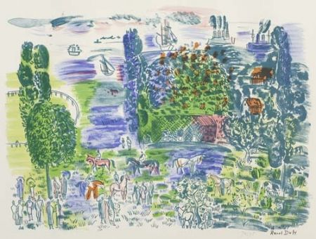 Lithograph Dufy - Au paddock