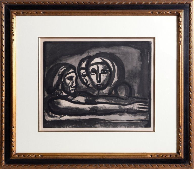 Aquatint Rouault - Au Presser Le Raisin Fut Foule' (In the Winepress the Grapes were Crushed ) from the Misere Series, Plate 48